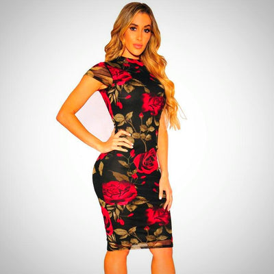 Ladies Plus Size Pretty Slim Floral Dress