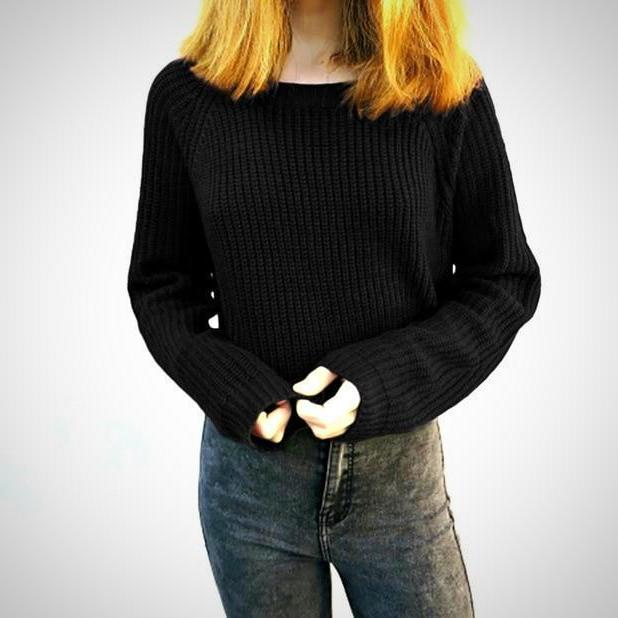 long sleeve casual crop sweater