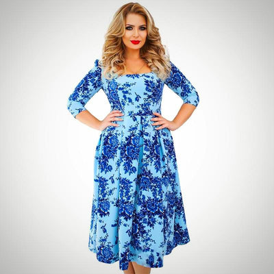 Ladies Plus Size Spring Vintage Floral Dress