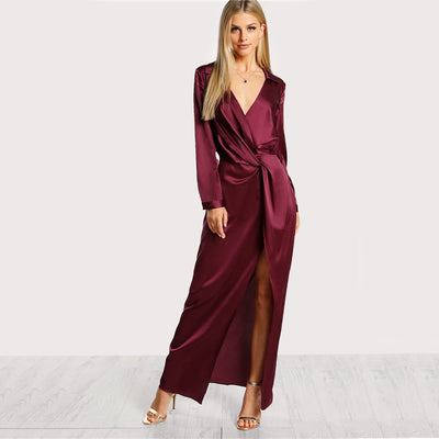 Deep V Neck Satin Front Twist Wrap Party Split Dress