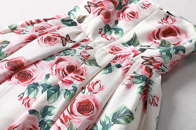 Elegant Rose Floral Print Dress