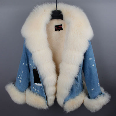 Real Fox Collar Denim Jacket
