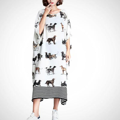 Ladies Long Chiffon Print Dress