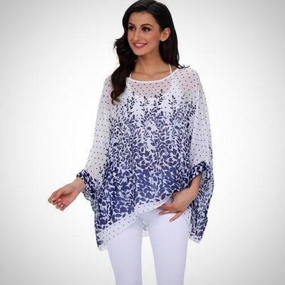 Plus Size Batwing Casual Chiffon Blouse Top Tee