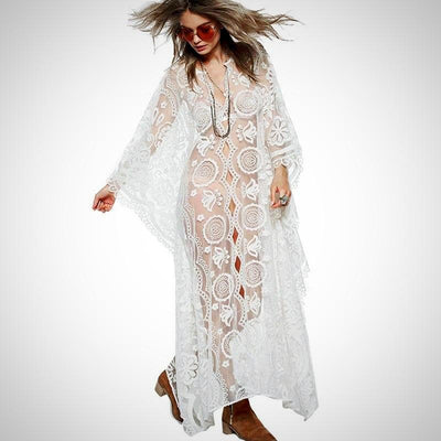 V-Neck Button Closure Boho Loose Maxi Dress