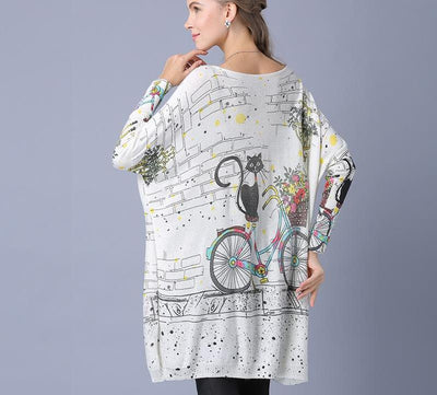 Cat Bicycle Print Sweater