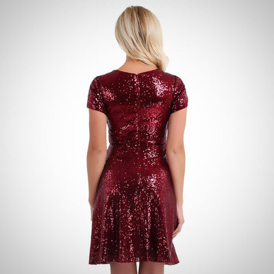 Shiny Sequins Inner Lining Cocktail Party Dress