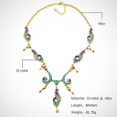 Colorful Crystal Tassel Flower Necklace