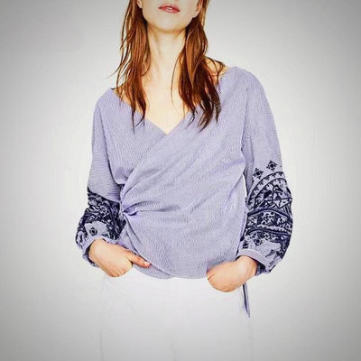 v neck embroidery shirt