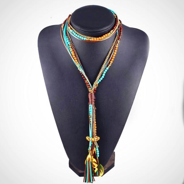 Multi Layer Long Statement Chokers Necklace