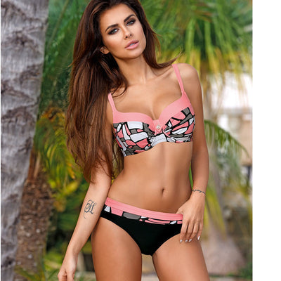 Push Up Bikini Plus Size Print Patchwork Swimsuit
