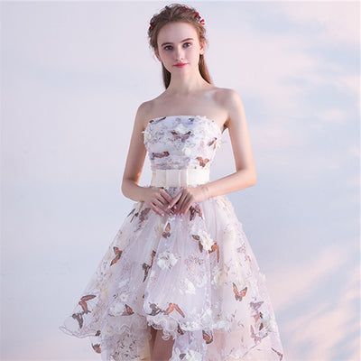 Strapless Pleat Lace Up High Low Prom Gown Party Dress