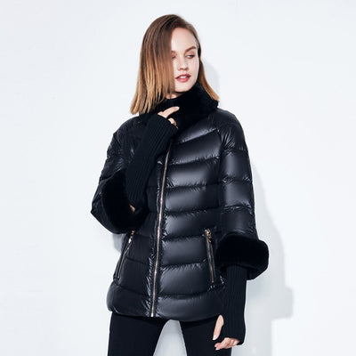 Real Rabbit Fur Collar / Sleeve Plus Size Jacket