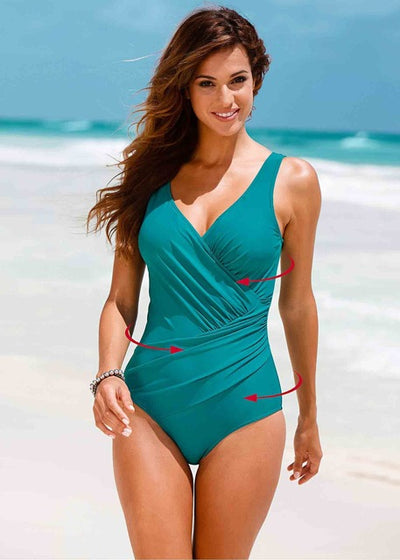 One Piece Plus Size Retro Vintage Print Swimsuit