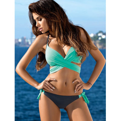 Push Up Criss Cross Bandage Halter Bikini Swimsuit