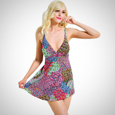One Piece Print Beachwear Swimwear Tankini Dress