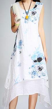 Ladies Plus Size Summer Casual Print Dress