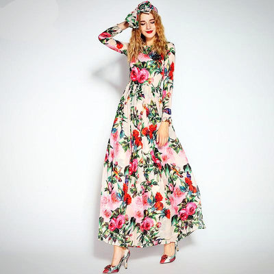 Ladies Long Sleeve Floral Bird Print Long Dress