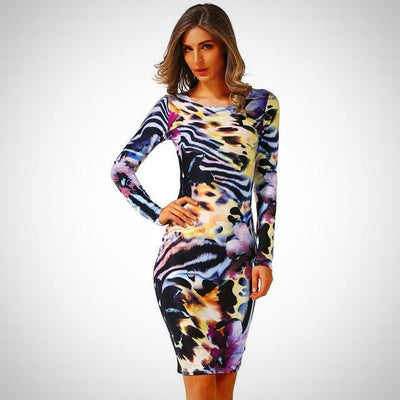 Long Sleeve High Elastic Floral Dress