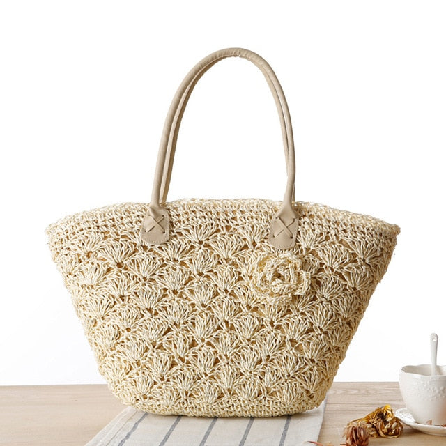 Large Zipper Woven Straw Casual Big Shoulder Bag