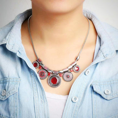 Ladies Ethnic Colorful Bead Pendant Necklace