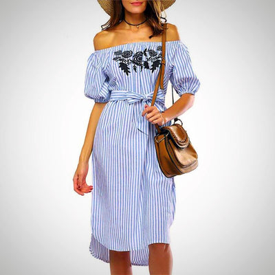 Ladies Off Shoulder Floral Embroidered Stripe Beach Dress