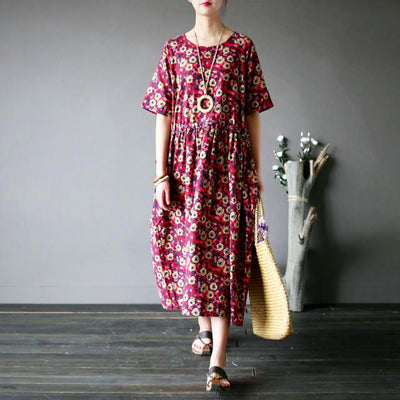 Ladies Floral Print O-Neck A-Linen Dress