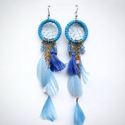 Handmade Bohemian Feather Braided Earring