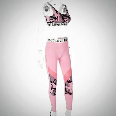 Ladies Patterned Active Wear Top And Legging Set