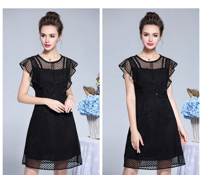 Ladies plus Size Ruffled Lace Party dress