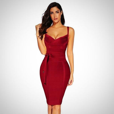 Rayon Sleeveless Sexy Deep Neck Bandage Dress