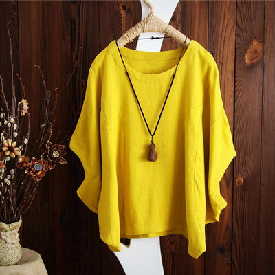 Ladies Plus Size Solid Casual Baggy Top