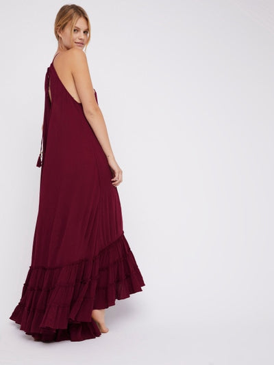 Ruffles Halter Floor-length Boho Dress
