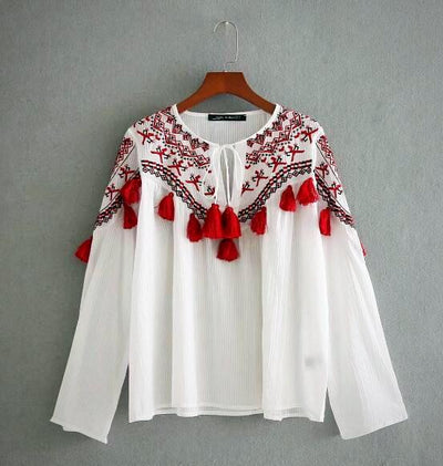 Ladies Ethnic Tassel Fringed ball Embroidery Top
