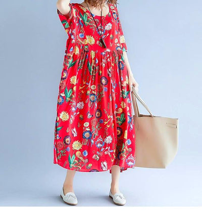Plus Size Casual Floral Patterned Summer Dress