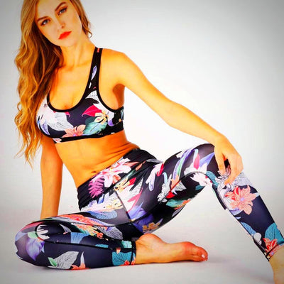 Ladies Fitness Vest Crop Print Top and Legging