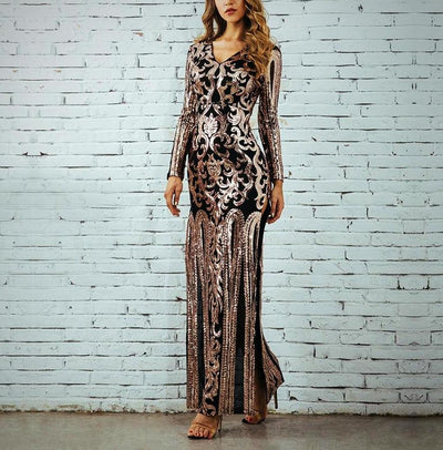 Metallic Designer Evening Dress