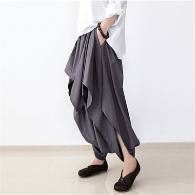 Wide Leg Loose Linen Cotton Plus Size Asymmetric Pant