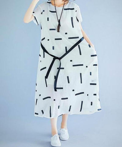 Casual Plus Size Patterned Summer Linen Dress