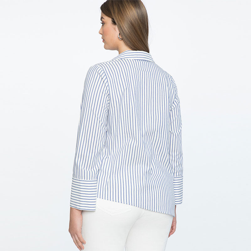 V-neck Striped Woman Blouse