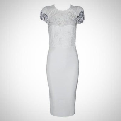 White Body Con Evening Dress