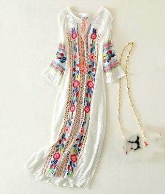 Vintage White Patterned Boho Dress
