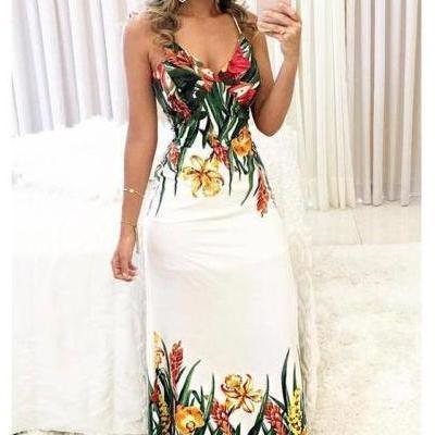 Floral Sleeveless Strap Dress