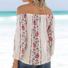 Long Sleeve Floral Print Off Shoulder Slash-Neck Top