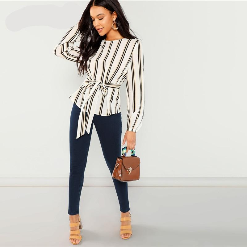 Elegant Neck Long Sleeve Blouse