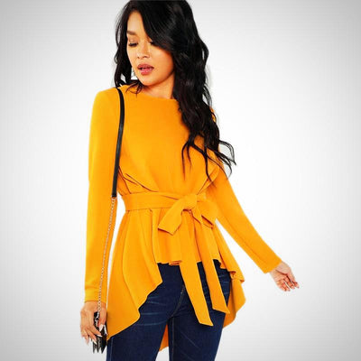 Casual Long Sleeve Asymmetrical Ginger Blouse