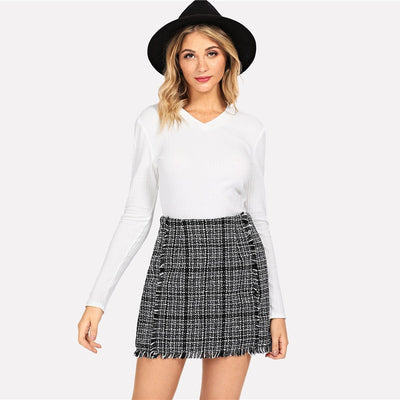 Frayed Trim Tweed Plaid Mini Bodycon Skirt
