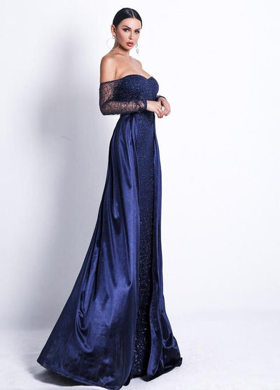 Stylish Navy Blue Strapless Evening Maxi Dress