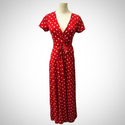 Ladies Long Red White Dot Beach Dress