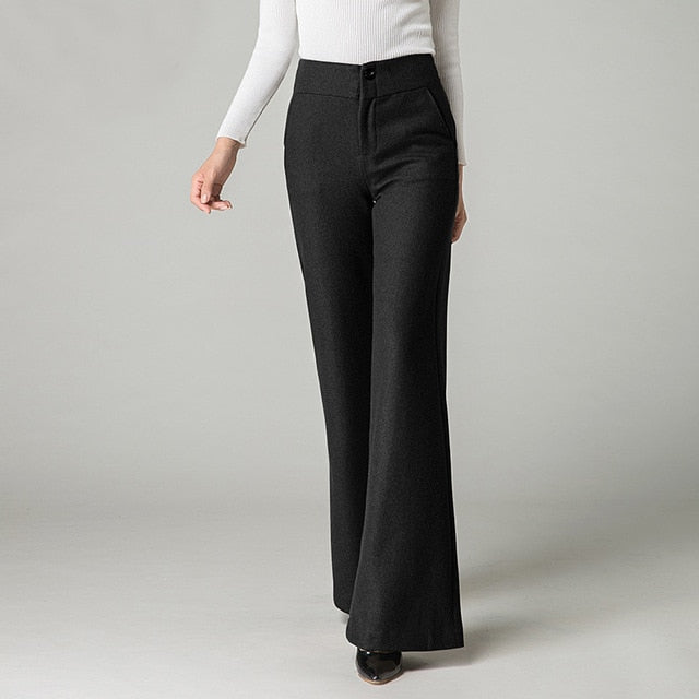 Woolen Thick Straight Flare Plus Size Wide Leg Pant